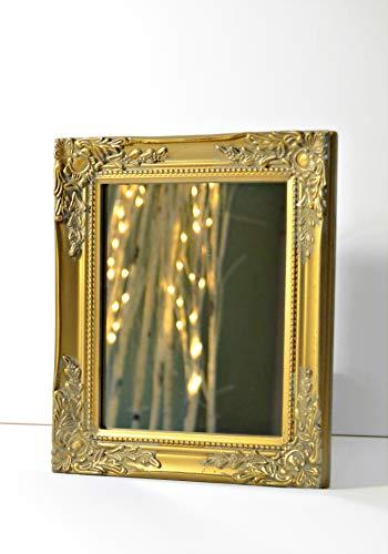 32x27x3cm espejo de pared rectangular, marcos antiguos de epoca hechos a mano de madera, oro, incl Asamblea