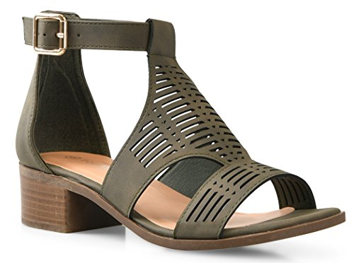 (LUSTHAVE Women's Emma Laser Cut Out Blocked Chunky Heel Sandals Shoes Olive)