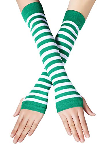 Zhanmai 2 Pairs Striped Arm Warmers Long Fingerless Gloves St. Patrick's Day Costume Party Accessory for Women - Striped Warmers Wrist