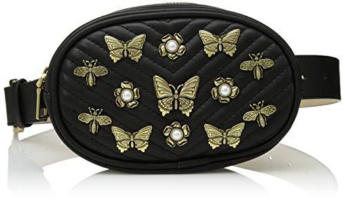 Steve Madden Belt - Steve Madden Women's Pearl and Studded Belt Bag, Black, MEDIUM