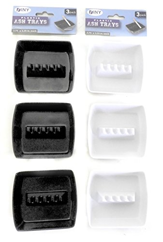 DINY Home & Style Set of 6 Square Plastic Cigarette Tabletop 3.75 inch x 3.35 inch Ashtrays