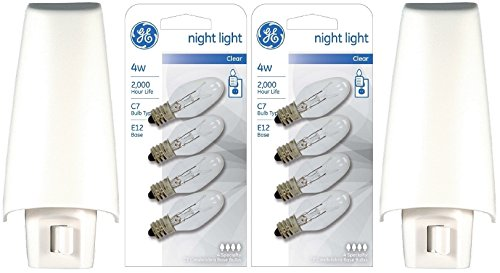 GE White Shade Incandescent Set of 2 Night Lights Plus 8 Replacement bulbs (White Incandescent Two Light)