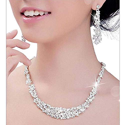 (Ladies Fashion Necklace, FAVOT Deals Necklace+Earrings Jewelry Set Womens Bridal Crystal Chain Necklace Earrings Jewelry (Silver))