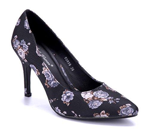 Schuhtempel24 Damen Schuhe Klassische Pumps Stiletto Blumenapplikation 9 cm Schwarz