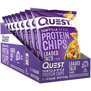 Quest Nutrition Tortilla Style Protein Chips, Loaded Taco, Low Carb, Gluten Free, Baked, 1.1 Ounce (Pack of 8) (Quest Check)