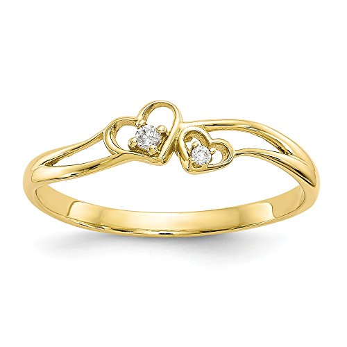 10k Yellow Gold Cubic Zirconia Cz Double Heart Band Ring Size 7.00 S/love Fine Jewelry Gifts For Women For Her 10k Double Heart Ring