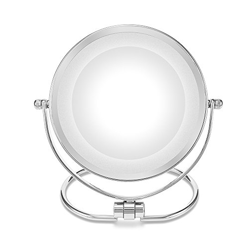 Double-Sided Makeup Mirror,Folding LED Lighted Vanity Mirror,1x/10x Magenifycation, 6-Inch,Stainless Steel by MOMIRA