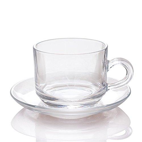 Amao 6oz (200ml) Ultra Clear Glass Tea/Coffee Cup with Glass Saucer Milk Mug Drinkware Set of 2
