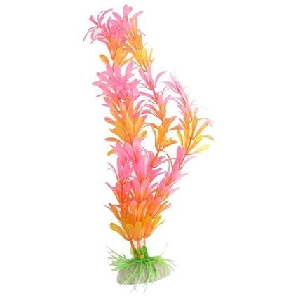 eDealMax Planta acuática acuario plástico del ornamento, 11.4 pulgadas, Rosa Naranja