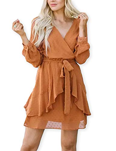 AOOKSMERY Women Cute V Neck Long Sleeve Mini Dresses Solid Polka Dot Swing Dress with Belt Orange