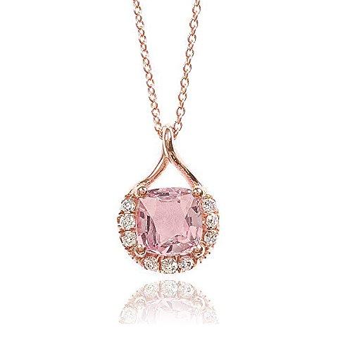 Padparadscha Sapphire - 14K Rose Gold 1.62ct TGW Padparadscha Sapphire and White Diamond Pendant Necklace