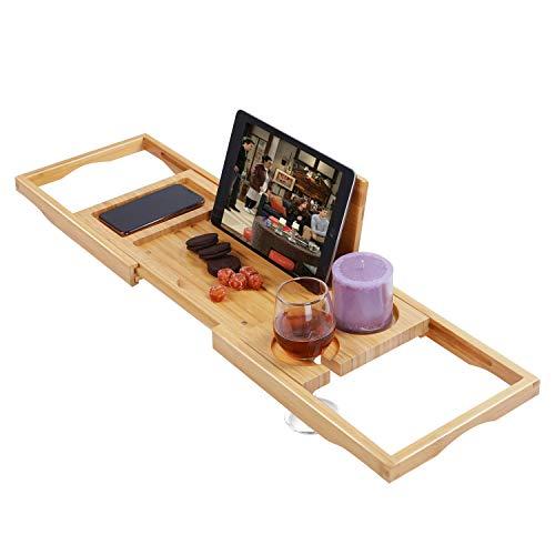 "Utoplike Bamboo Bathtub Caddy Tray Bath Tray for Tub, Adjustable Bathroom Bathtub Organizer with Book Tablet Wine Glass Cup Towel Holder,Distinctive Gift for Christmas (24.8""-37.4"")"