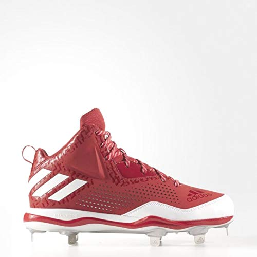 (adidas New Mens PowerAlley 4 Mid Baseball Metal Cleats Red/White Size 16 M)