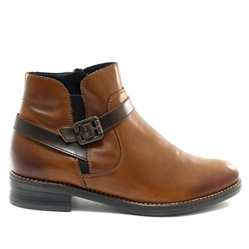 Zip Tan Boot Remonte Heeled Leather Side Ankle With Tan dp0fwFxqf