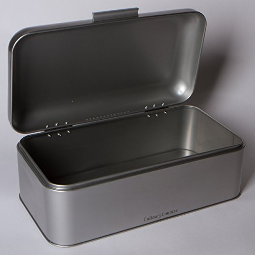 Large Silver Bread Box - Powder Coated Silver Paint - Countertop Storage - Bread Bin for Loaves, Bagels & More: 16.5