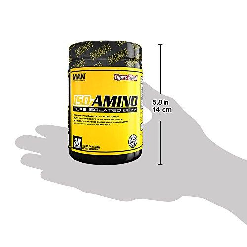 MAN Sports ISO-AMINO BCAA Amino Acid Powder, Tigers Blood, 30 Servings, 210 Grams