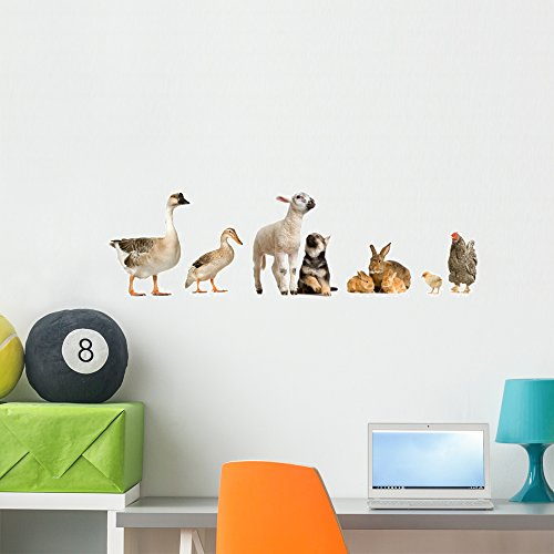 Wallmonkeys FOT-2802085-36 WM33853 Farm Animals Peel and Stick Wall Decals (36 in W x 11 in H), Large ()