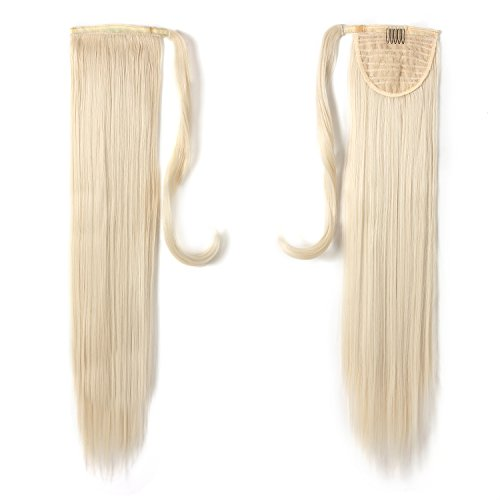 "Price comparison product image OneDor 24"" Straight Wrap Around Ponytail Extension for Woman Synthetic Hair 120g-130g (60#-Platinum Blonde)"
