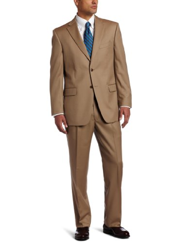 Jones New York Men's 2 Button Side Vent Tan Suit, Tan, 38 Regular