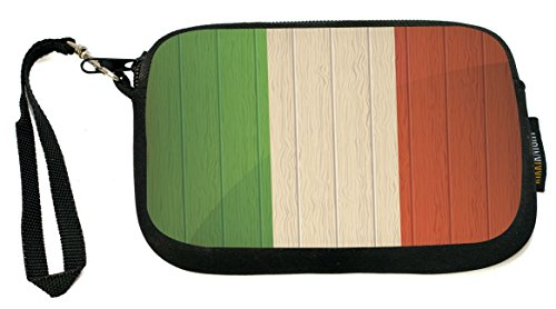 Rikki Knight Italy Flag on Distressed Wood - Neoprene Clutch Wristlet Coin Purse with Safety Closure - Ideal case for Cosmetics Case, Camera Case, Cell Phones, Passport, - Pro Italia Apparel