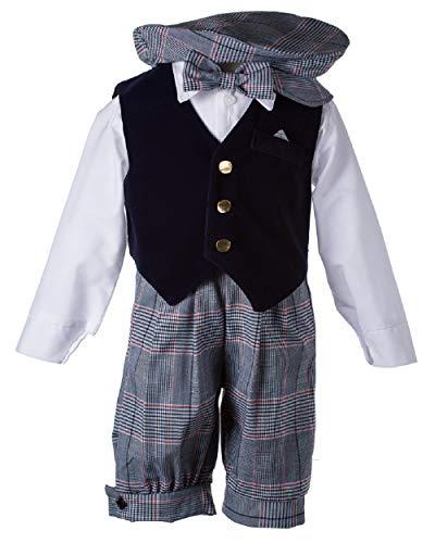 Tuxgear Toddlers Vintage Weave Knickers Set Navy Blue Velvet Vest, 4 Toddlers (4 Toddlers)