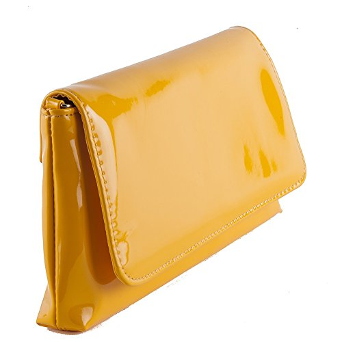 Borsa clutch, Savina gialla, in ecopelle