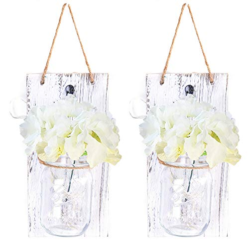 Hoomall Rustic Hanging Mason Jar Sconces,Wider Decorative Panels with LED Fairy Lights, Mason Jar Lights, Silk Hydrangea Flower, LED Strip Lights, Rustic Home Decor (Pack of 2) (One Size, White)