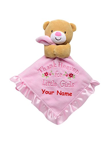 Personalized Baby Starters Thank Heaven For Little Girls Bear Snuggle Buddy Baby Blanket (Snuggle Bear Blanket)