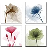 Home Art Contemporary Art Flower Giclee Canvas Prints Framed Canvas Wall Art For Home Decor 4 panels Wall Decorations For Living Room Bedroom Office Each Panel Size:12x12 inch