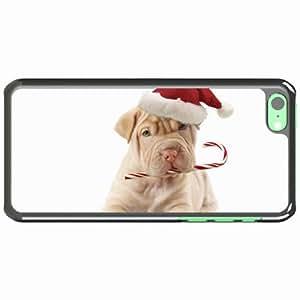 iPhone 5C Black Hardshell Case dog hat candy Desin Images Protector Back Cover