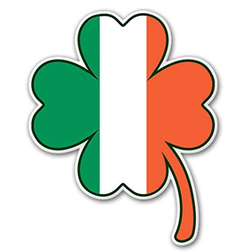 AK Wall Art Irish Flag Shamrock Shape Vinyl Sticker - Car Window Bumper Laptop - Select Size