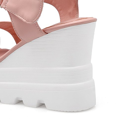 AgooLar Mujeres Puntera descubierta Plataforma Velcro Sólido Sandalia Rosa