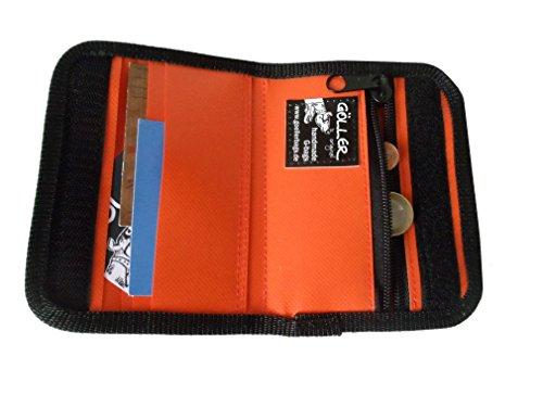 Goellerbags Geldbörse aus Plane und Wachstuch, Orange/ Bunt H 11 cm, B 14,5 cm