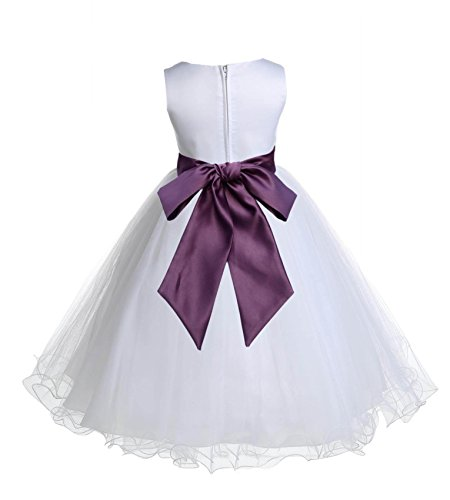 Wedding Pageant White Flower Girl Rattail Edge Tulle Dress 829s 8