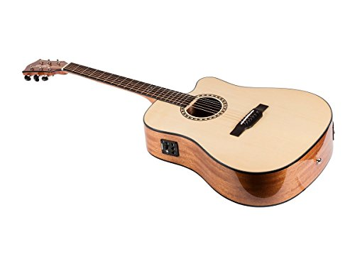 Monoprice Idyllwild Spruce Solid Top Acoustic Electric Guitar With Fishman Pickup Tuner and Heavy-Duty Gig Bag