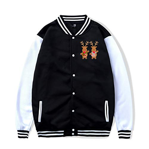 PLS&A88 Unisex Baseball Jacket Uniform Cute Christmas Reindeer Boys Girls Hoodie Sweatshirt Sweater Tee -