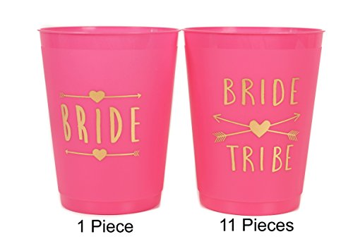 (12 Pack ) Bride and Bride Tribe Cups Pink - for Bachelorette, Bridal, & Hen Parties