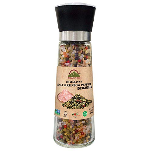 Himalayan Chef Pink Salt Grinder, Rainbow Pepper Corn-Salt, 11.5 ()
