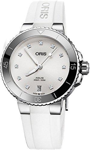 Oris Aquis Date Diamond Women's Watch on White Rubber Strap