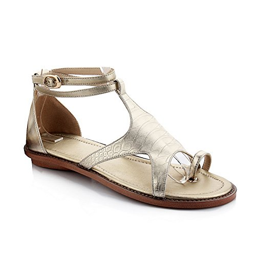 1TO9 Ladies Split-Toe T Strap Buckle Sheepskin Sandals Gold nuQ38mgmpR