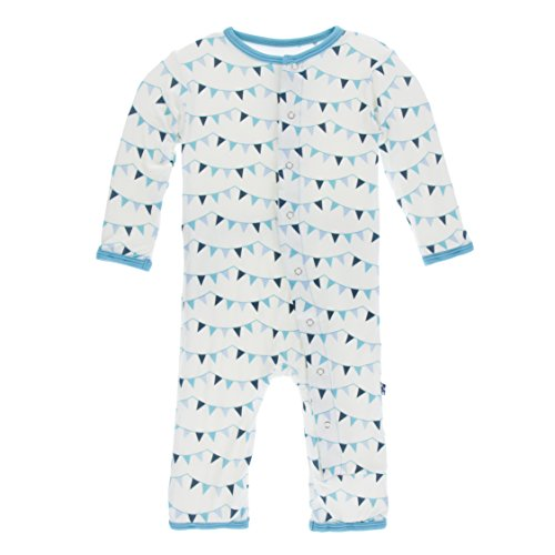 Flag Lead (KicKee Pants Little Boys Print Coverall with Snaps - Confetti Party Flags, 3-6 Months)