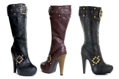 ELLIE 426-AUBREY 4 Knee High Steampunk Boots With Buckles And Studs Women, Black PU, 11 Size