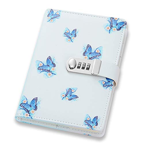 ToiM PU Leather Journal, A5 Secret Diary with Lock (Butterflies)