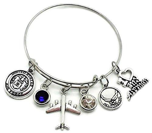 Kit's Kiss Air Force Bracelet, USAF Bracelet, USAF Wife, USAF Mom, USAF Sister, USAF Girlfriend, USAF Grandma, USAF Aunt, USAF Daughter, Airman Bracelet, Air Force Bangle Bracelet