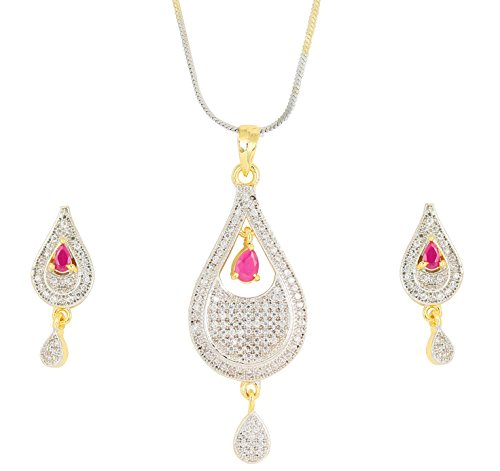 (Touchstone Hollywood Glamour Cubic Zirconia pear Shape red Faux Ruby Studded Micron Setting Designer Jewelry Pendant Set for Women in Gold and Silver Tones)