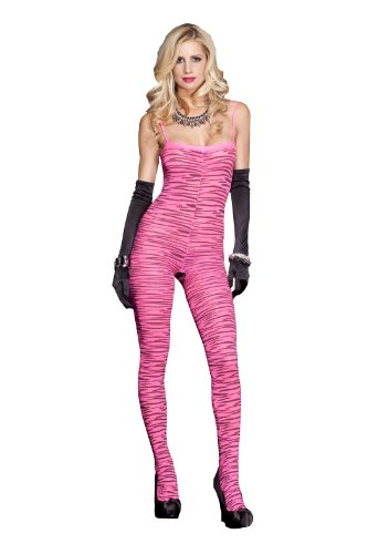 MUSIC LEGS Women's Zebra Print Bodystocking, Hot Pink/Black, One Size