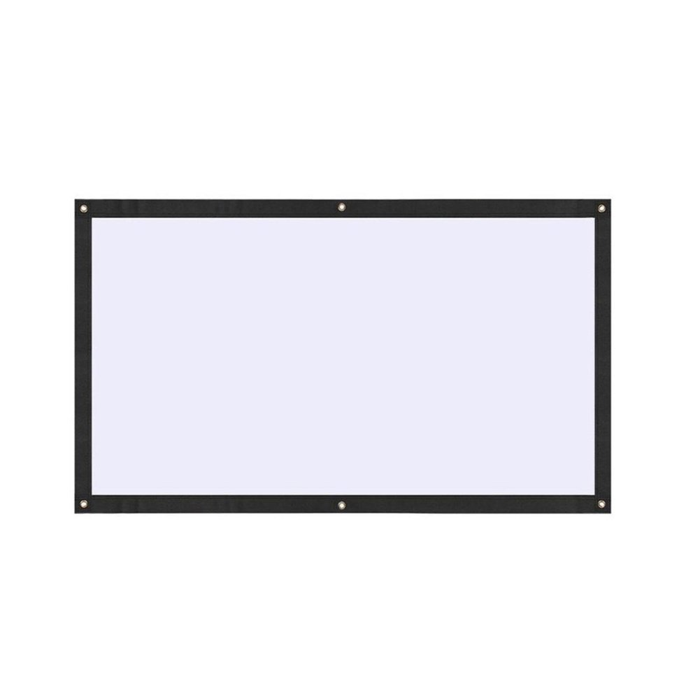 Auntwhale Foldable 16:9 HD Display 70 inches Projector Screen Polyester Projection Curtain Home Cinema Outdoor Courtyards 88×155cm White Background + Black Edge