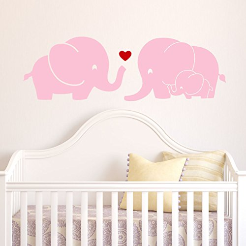 Soft Pink Bubbles (Decal the Walls Elephant Family Wall Decal with Red Heart, Soft Pink)