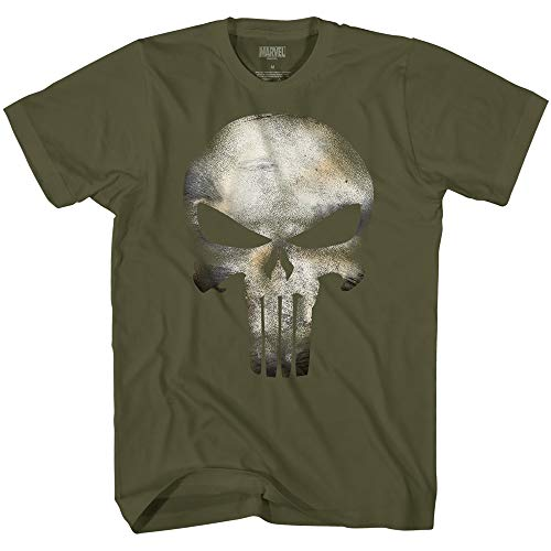 Marvel The Punisher Men's No Sweat Logo Skull T-Shirt (Military Green,XXL)