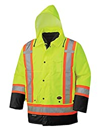 Pioneer V1120161-L Winter 6-in-1 Parka Jacket - 100% Waterproof hi-viz Rainwear, Yellow-Green, L